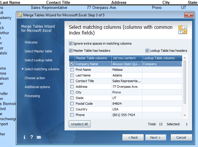 Select the columns in each data file that will allow the Wizard to uniquely identify each record.