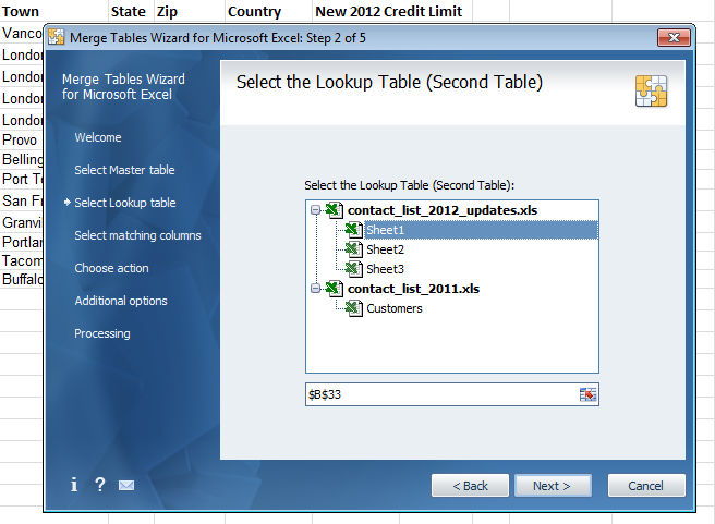 Select the workbook and sheet with the data to update the Master table with. This is called the Lookup table
