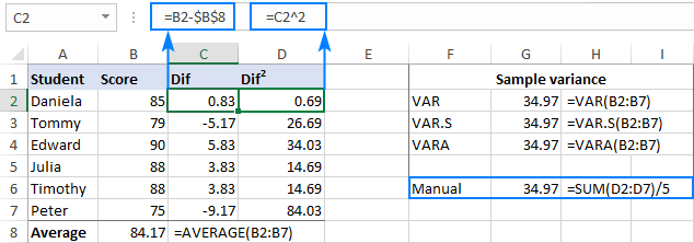 Sample variance formulas in Excel