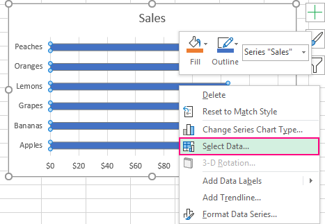 Right click the bar chart and click Select Data.
