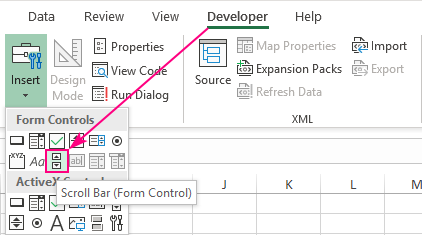 Insert a scroll bar in Excel.