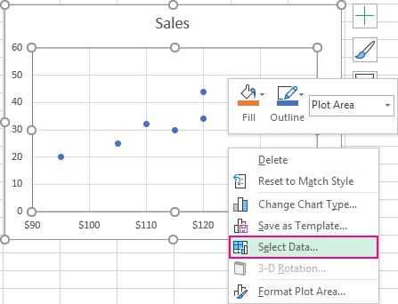 Right-click the scatter chart and choose Select Data.