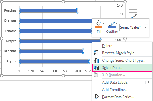 Add vertical line to Excel chart: scatter plot, bar and line