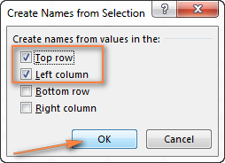Creating names from the top row and left column of the selection