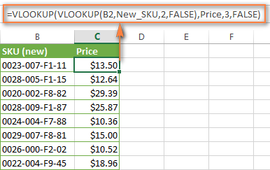 Doing two vlookups in one formula