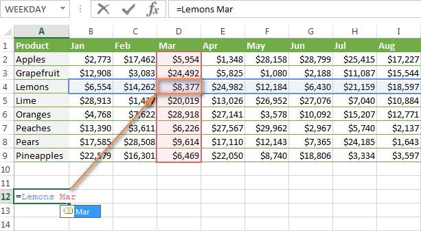 Doing a 2-way lookup in Excel using named ranges