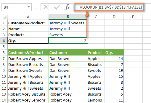 VLOOKUP formula to search by 2 criteria in the same worksheet