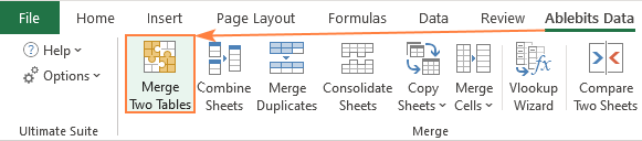 Merge Two Tables for Excel