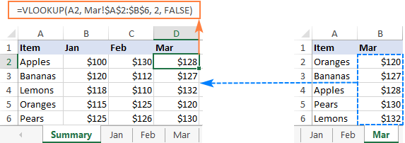 VLOOKUP between two sheets