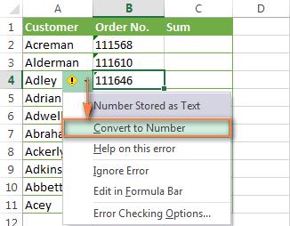 Converting numbers formatted as text to the normal numbers format.