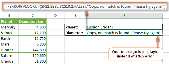 Display your message instead of VLOOKUP error.