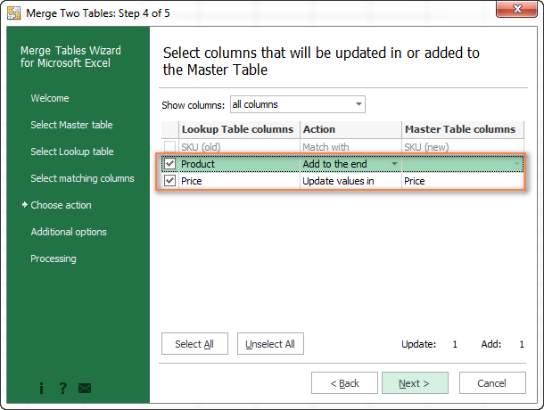 Merge Tables Wizard - a formula-free way to do vlookup in Excel
