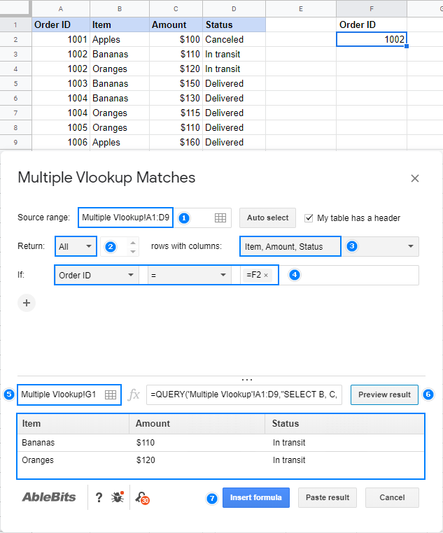 Vlookup multiple matches in Google Sheets