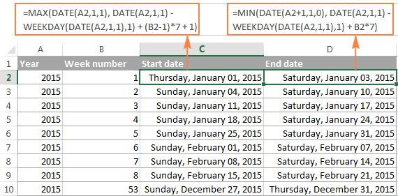 An alternative way to convert a week number to a date in Excel