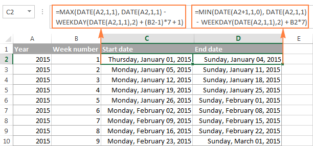 Excel WEEKNUM function – convert week number to date and