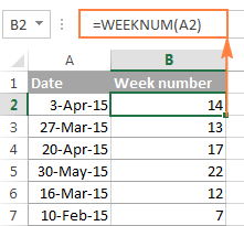 A WEEKNUM formula to convert date to week number