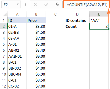 Another COUNTIF formula with wildcard