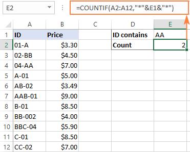 Excel COUNTIF wildcard formula
