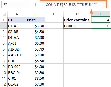 Excel formula with wildcard does not work for numbers.