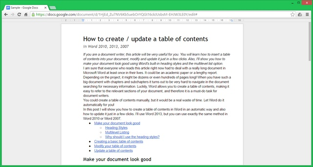 Google Docs: full-screen mode.