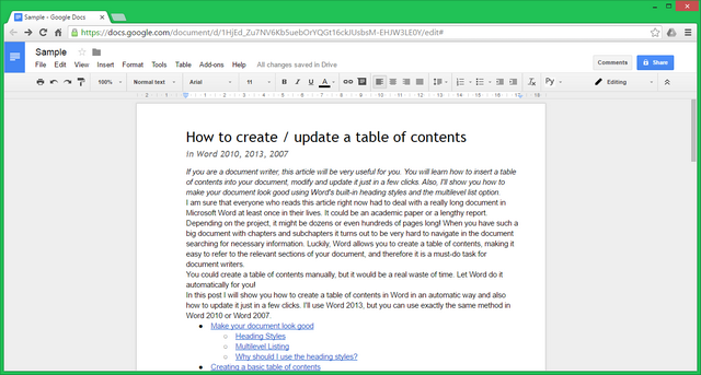 Google Docs: general view.