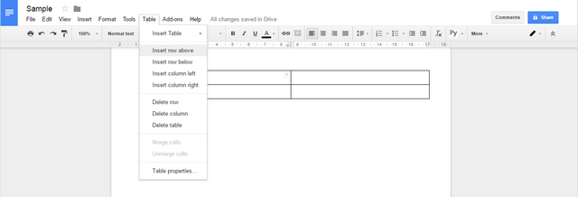 Google Docs: a general view of the toolbar when working with a table. Additional actions are presented as text; this doesn't help one perceive them quicker.