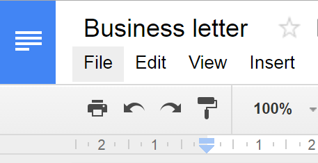 Google Docs: an example of displaying the toolbar with 200% dpi.