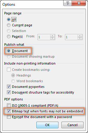 Use the Options dialog to set up the page range and configure some other settings.
