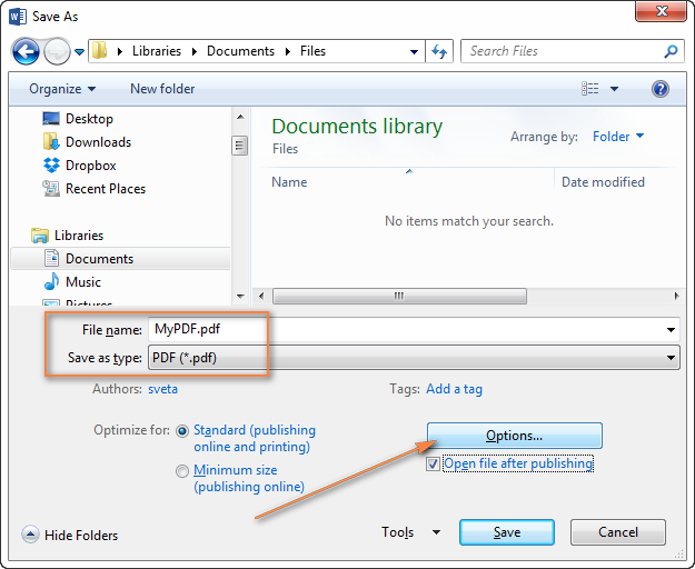 Converting a Word document to PDF using the Save As feature.