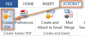 To convert a Word doc to PDF, click the Create PDF button on the Acrobat tab.