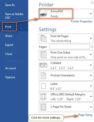 Configuring the PDF settings using the desktop Word to PDF pseudo printer