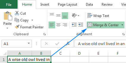 Excel wrap text not working because of merged cells