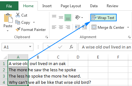 How to wrap text in Excel automatically and manually