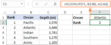Left XLOOKUP in Excel