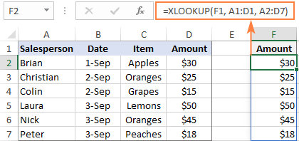 XLOOKUP to return entire column
