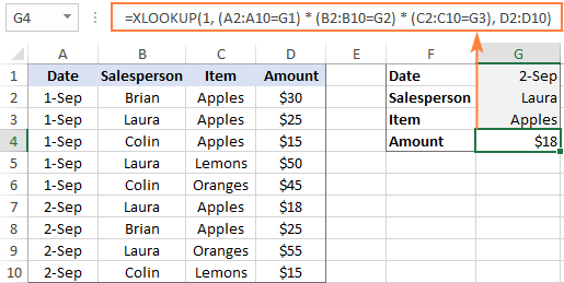 XLOOKUP with multiple criteria