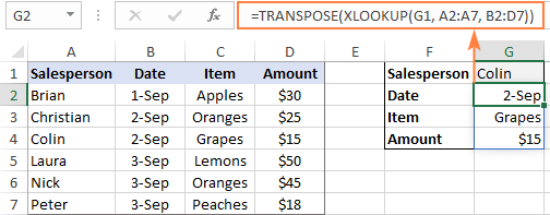 XLOOKUP multiple values and transpose a row to column.
