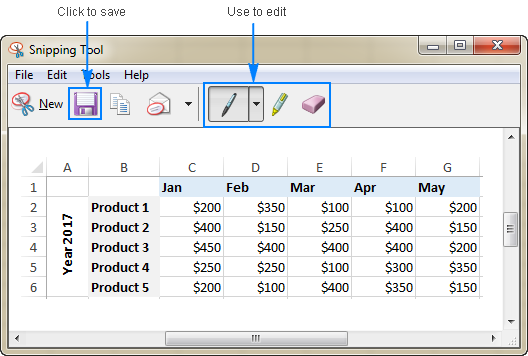 Excel data saved as .jpg image by using Snipping Tool.