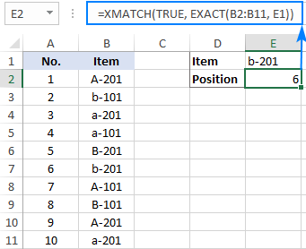 Case-sensitive XMATCH formula