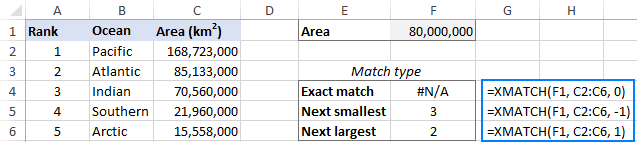 XMATCH formula: exact match vs. approximate match