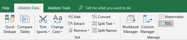 Click the TOC icon to create table of contents in Excel.