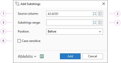 Adjust the Add Substrings settings.