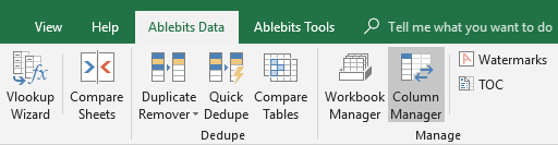 Start Column Manager from Ultimate Suite for Excel.