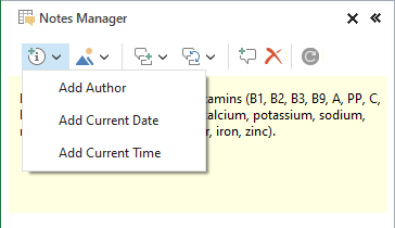 Use the Insert icon to add author, date, or time to a comment.