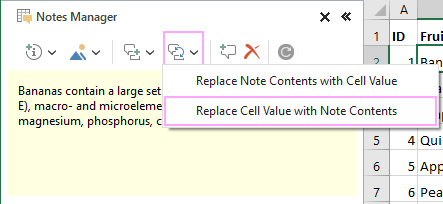 Replace cell value with comment contents.