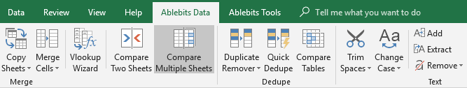 Start Compare Multiple Sheets.