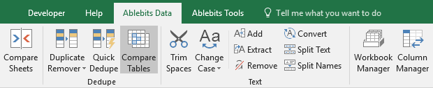 Find the Compare Tables icon on the Ablebits Data tab.