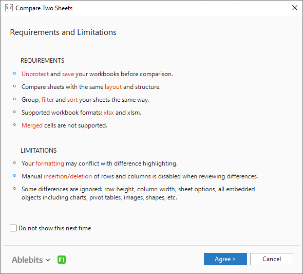Compare Two Sheets: Requirements & Limitations.