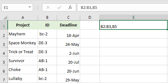 Paste the copied cell or range reference in Excel.