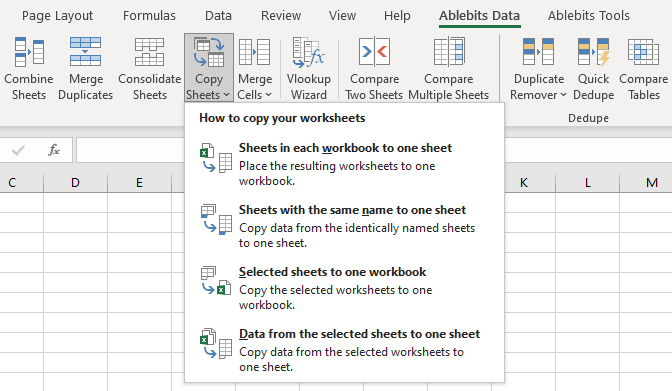 Or use the drop-down menu to select the merging option right away.